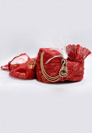 Foil Printed Turban in Maroon