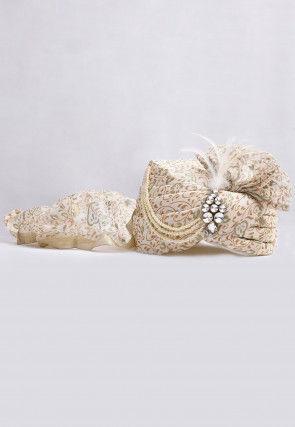 Foil Printed Turban in Off White