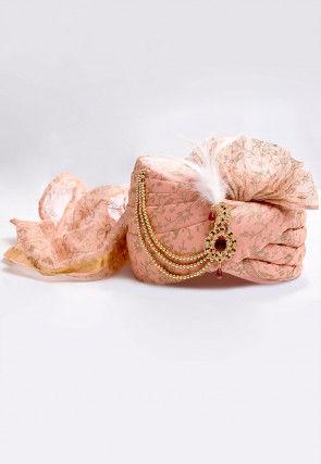 Foil Printed Turban in Peach