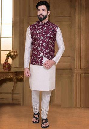 Foil Printed Velvet Asymmetric Nehru Jacket in Wine