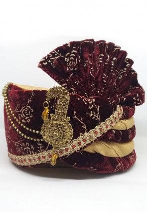 Foil Printed Velvet Turban in Maroon and Beige