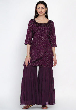 Foil Printed Viscose Rayon Kurta Set in Wine