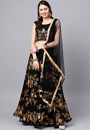 Foil Printed Viscose Rayon Lehenga in Black