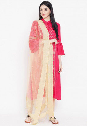 Foil Printed Viscose Straight Suit in Fuchsia