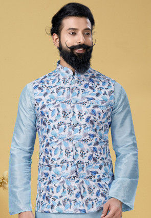 Foliage Printed Cotton Nehru Jacket in White and Blue