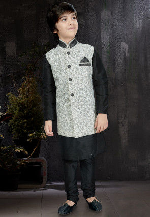 Foliage Printed Dupion Silk Kurta Set in Black