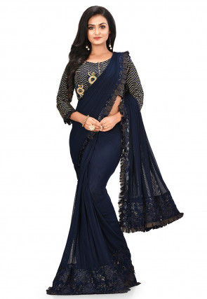 Frilled Border Lycra Net Pre-stitched Saree in Navy Blue