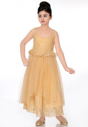 Frilled Chantelle Net Layered Gown in Beige