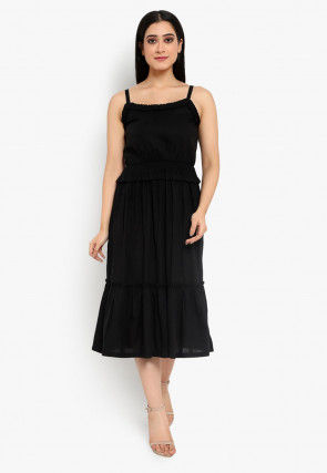 Frilled Cotton Dress in Black