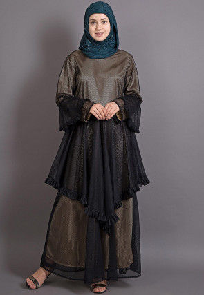 Frilled Net Abaya in Black and Golden