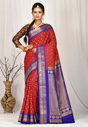 Gadwal Pure Silk Handloom Saree in Red