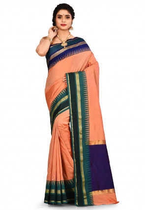 Gadwal Silk Saree in Peach