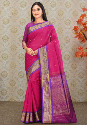 Gadwal Silk Single Warp Handloom Saree in Fuchsia