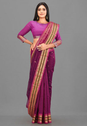 Gadwal Silk Single Warp Handloom Saree in Purple