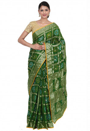 Gharchola Art Silk Saree in Green
