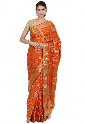 Gharchola Art Silk Saree in Orange