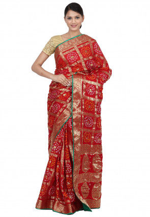 Gharchola Art Silk Saree in Red