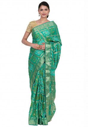 Gharchola Art Silk Saree in Teal Green