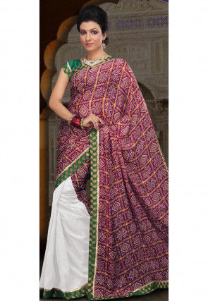 Gharchola Crepe Half N Half Saree in Magenta and White