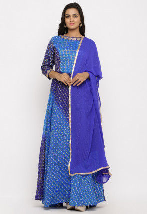 Gharchola Ghatchola Silk Abaya Style Suit in Shaded Blue