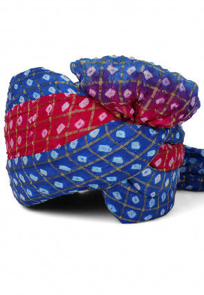 Ghatchola Art Silk Turban in Blue and Fuchsia