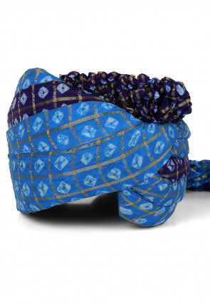 Ghatchola Art Silk Turban in Light Blue and Navy Blue