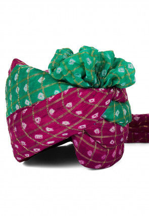 Ghatchola Art Silk Turban in Magenta and Green