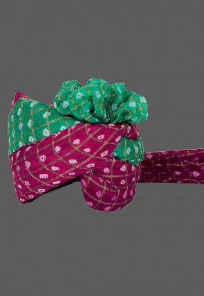 Ghatchola Art Silk Kids Turban in Magenta and Teal Green