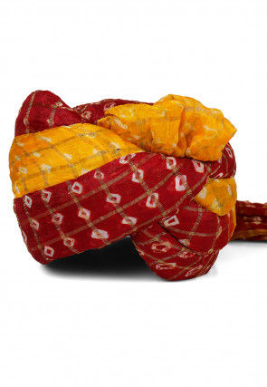Ghatchola Art Silk Turban in Maroon and Yellow