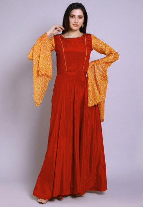 Ghatchola Chinon Crepe Gown in Dark Orange