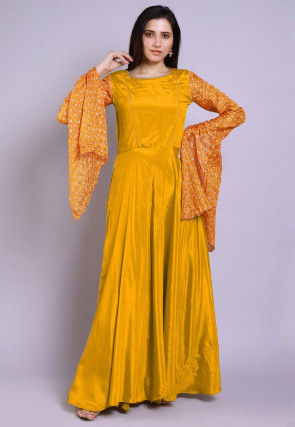 Ghatchola Chinon Crepe Gown in Mustard