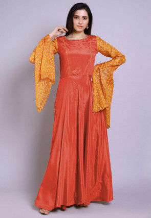Ghatchola Chinon Crepe Gown in Peach