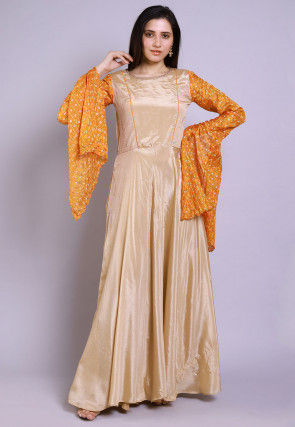 Ghatchola Chinon Crepe Gown Set in Beige