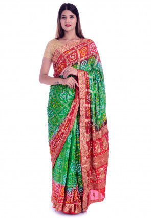Ghatchola Silk Saree in Green and Red