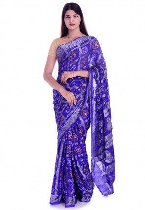 Ghatchola Silk Saree in Indigo Blue