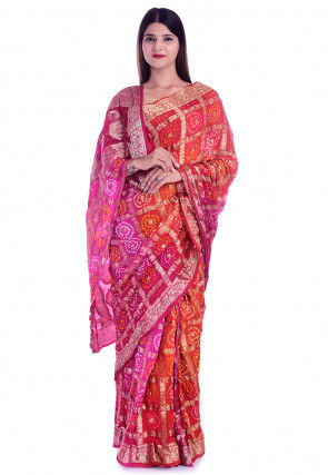 Ghatchola Silk Saree in Red and Fuchsia