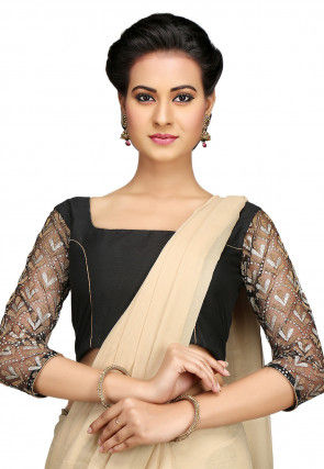 Glitter Work Cotton Silk Blouse in Black