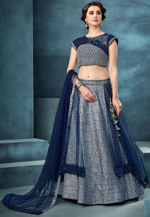 Glittered Layered Art Silk Lehenga in Grey and Navy Blue
