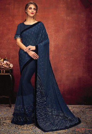 Glittered Lycra Saree in Dark Blue