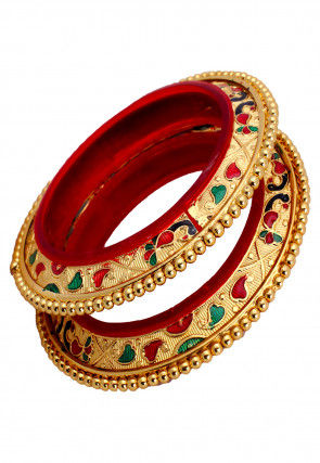 Gold Plated Meenakari Bangle Pair