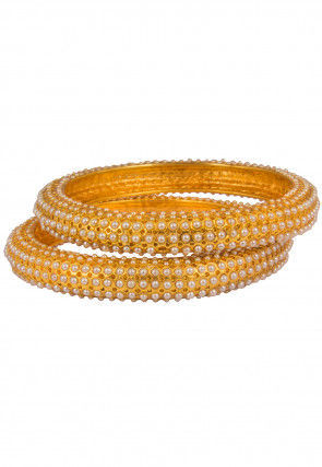Gold Plated Pearl Studded Bangle Pair