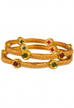 Gold Plated Stone Studded Bangle Pair