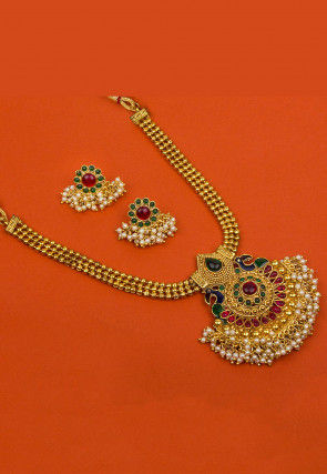 Gold Plated Stone Studded Necklace Set