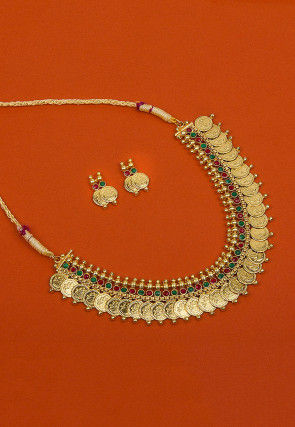 Gold Plated Stone Studded Temple Necklace Set