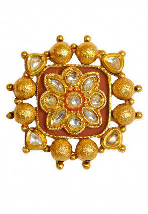 Gold Polished Kundan Adjustable Ring