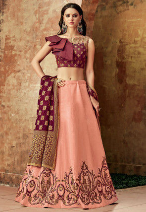 Gold Printed Art Silk Lehenga in Peach