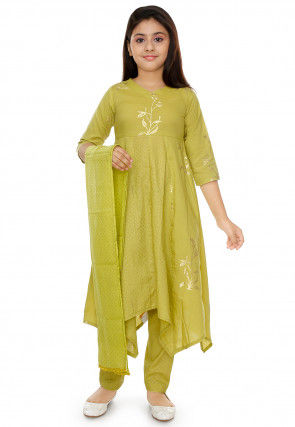 Gold Printed Cotton Asymmetric Anarkali Suit in Olive Green
