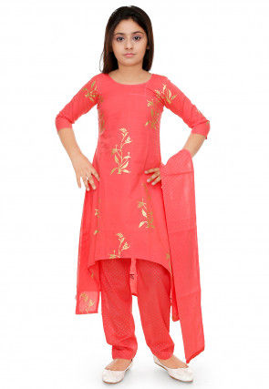 Gold Printed Cotton Asymmetric Suit in Coral Pink