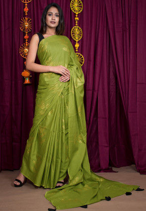 Golden Block Printed Cotton Mulmul Saree in Olive Green