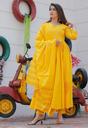 Golden Block Printed Cotton Pakistani Suit in Yellow